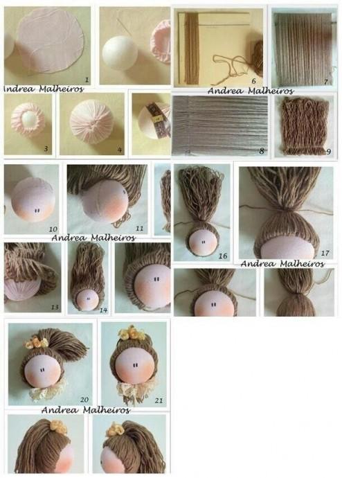Волосы из пряжи для кукол 5