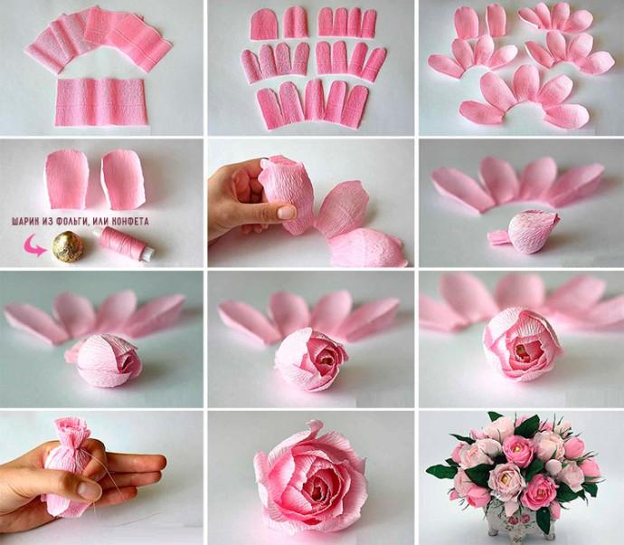 Как сделать цветы из гофробумаги: розы