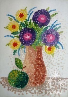 Рисуем точечный натюрморт ватными палочками