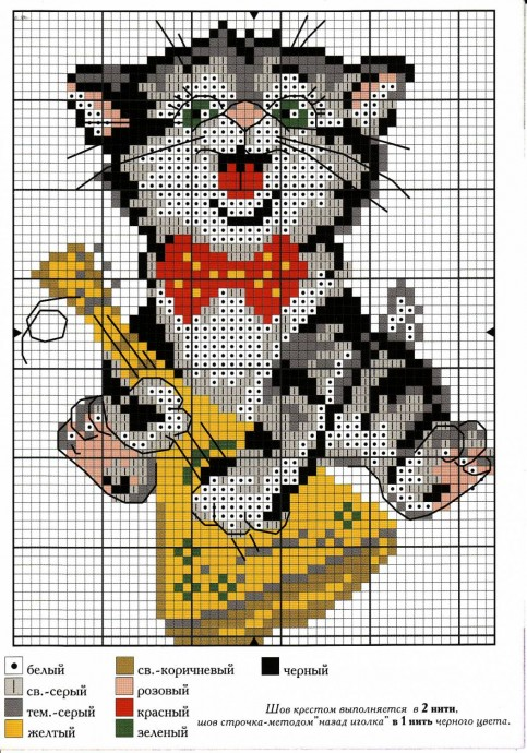 Схемы вышивки котиков с детьми 5