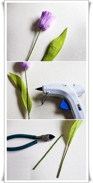 Разноцветный букетик тюльпанов из цветной гофрированной бумаги 7