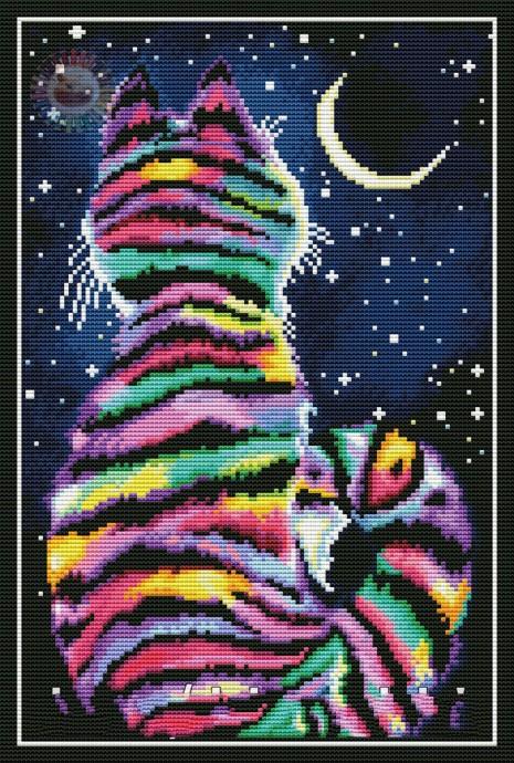 Радужный кот с луной
