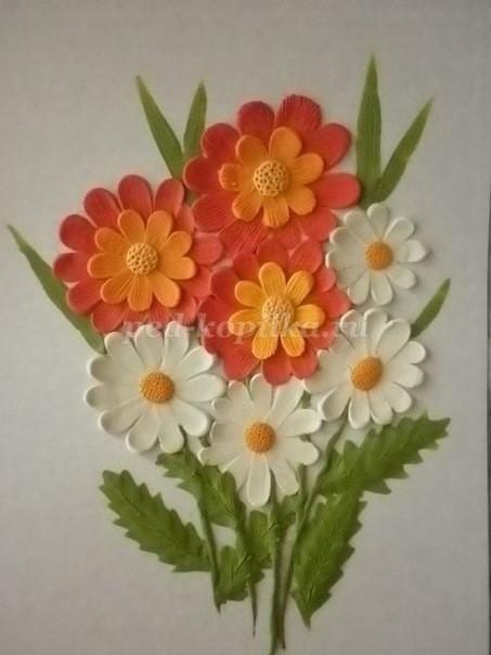 """Рисование пластилином """"Букет полевых цветов"""""""