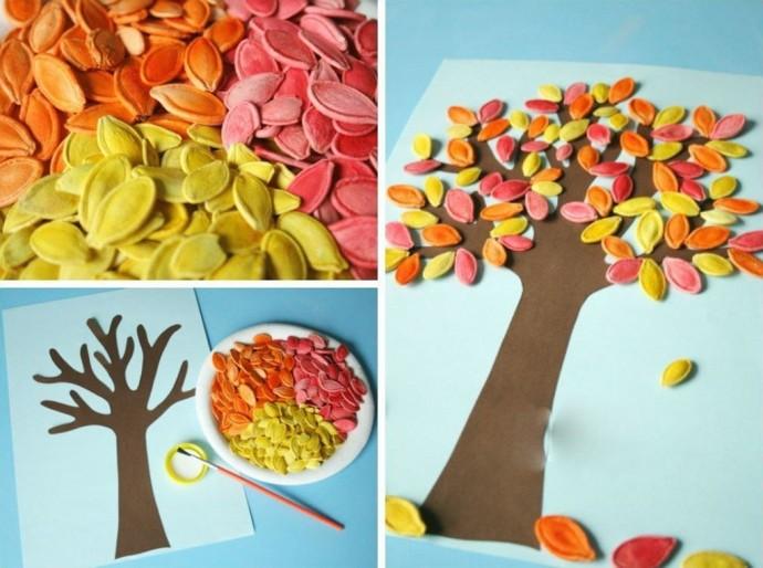 Аппликация осеннего дерева из тыквенных семечек