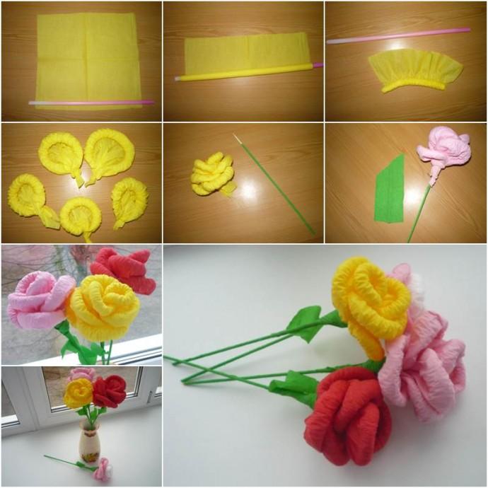 Цветочки из гофрированной бумаги или из рельефных салфеток