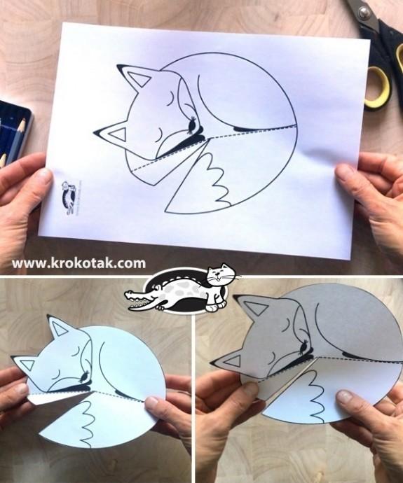 Поделка-раскраска из бумаги в виде лисички