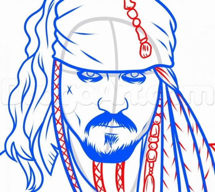 Урок рисования: пират Джек Воробей 6