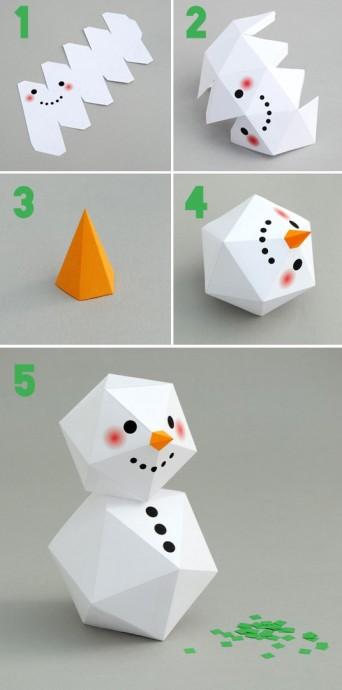 Геометрический снеговик с шаблонами 3