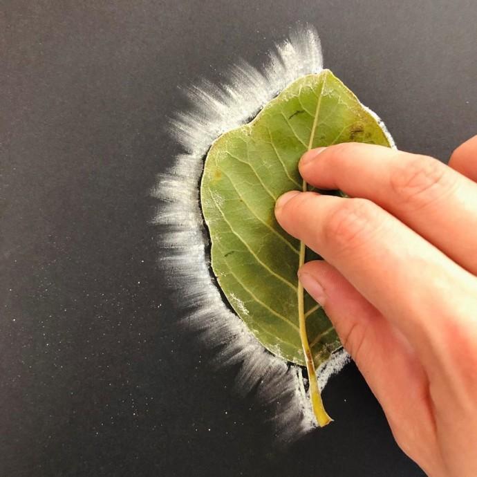 Рисуем листья мелом