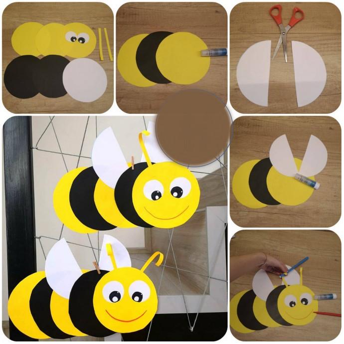 Пчелка из кругов бумаги