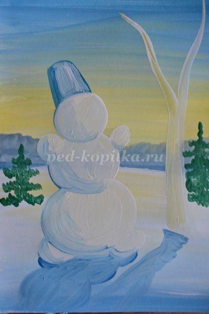 Рисуем с детьми снеговика гуашью