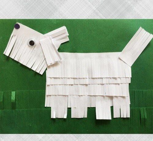 Болонка с подвижной шерстью из бумаги