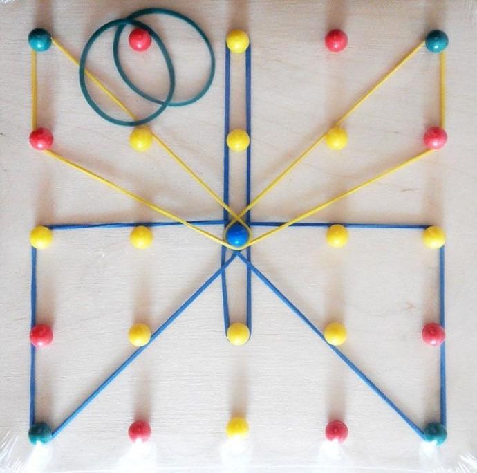 Игры с канцелярскими резиночками на основе со штырьками