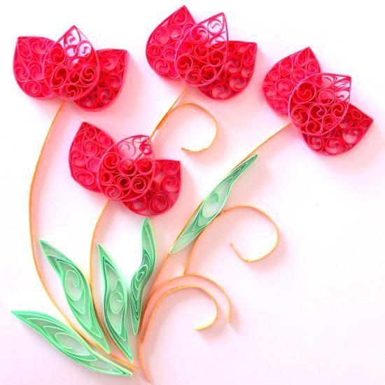 Тюльпаны в технике квиллинг 9