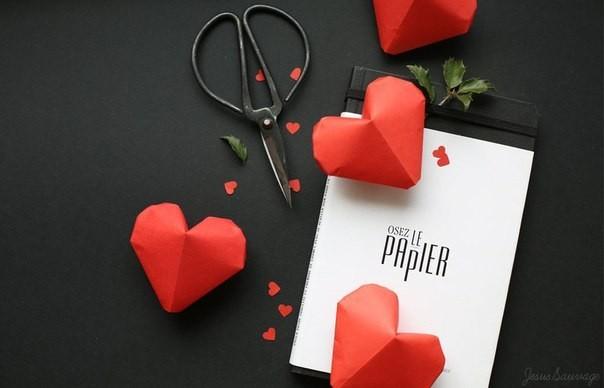 Объемное сердце из бумаги 10