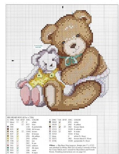 Схемы детской вышивки с медведями