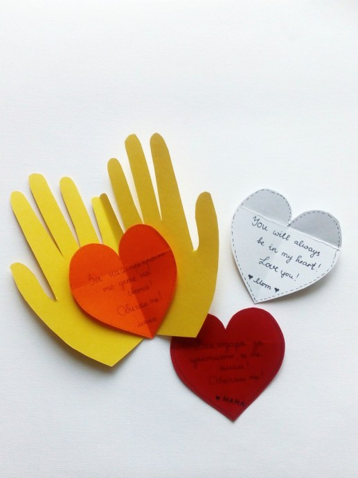 Валентинки детскими руками