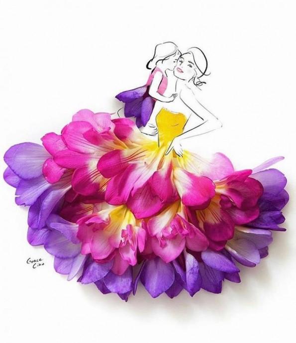 Аппликации живыми цветами по готовому рисунку