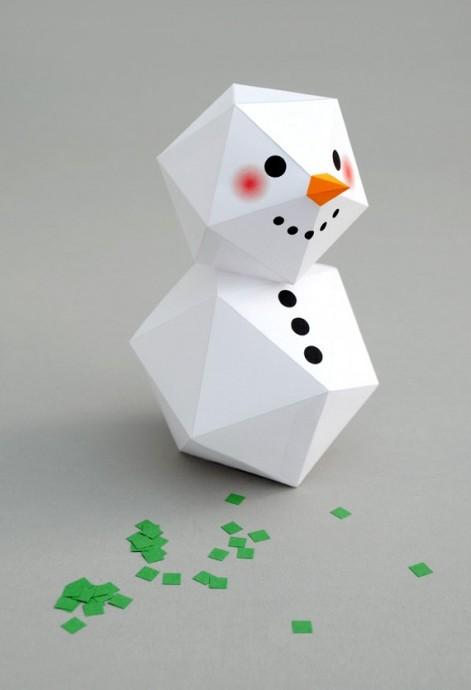 Геометрический снеговик с шаблонами 4