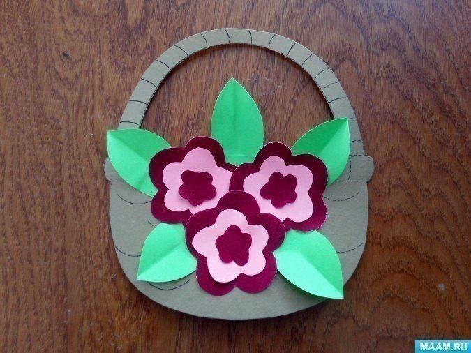 Корзина с цветочками из бархатной бумаги