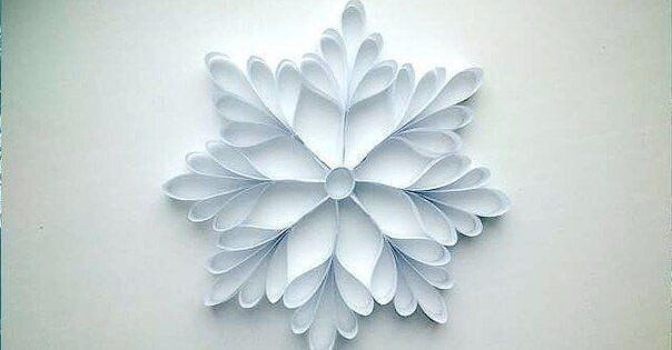 Объёмная снежинка из полосок бумаги