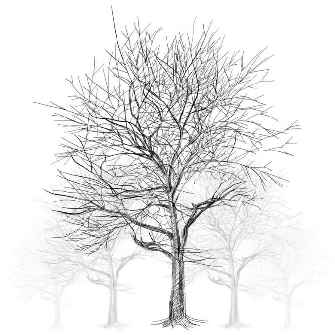 Рисуем листву дерева отпечатками пальцев 8