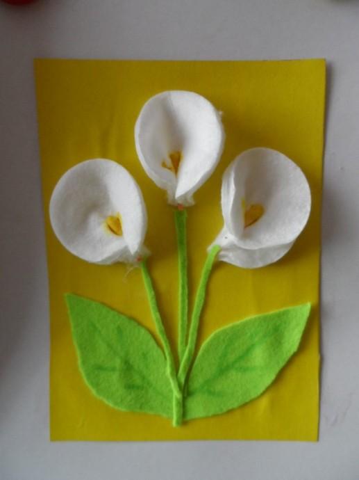 Поделки из ватных дисков: цветы