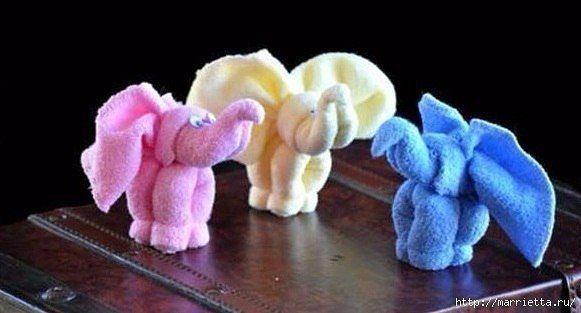 Слоники из полотенец