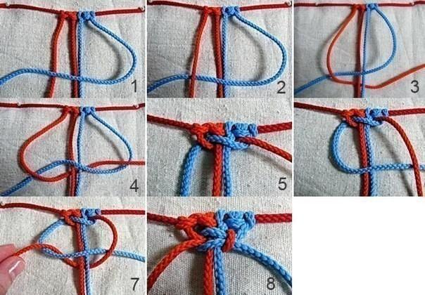 Браслеты для детей: квадратный узел