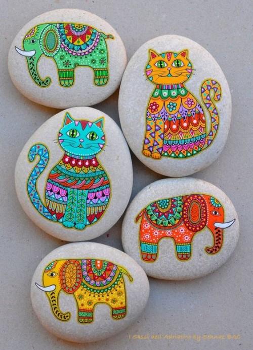 Идеи красочной росписи камней с детьми 5