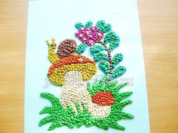 Пластилинография для детей: грибочек