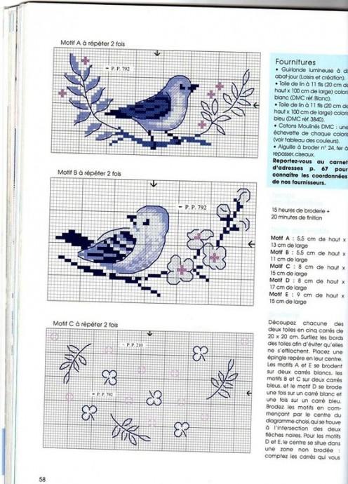 Схемы вышивки для детей: птички 5