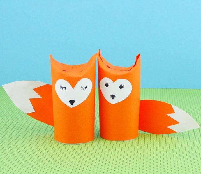 Поделки с детьми из картонных втулок: лесные зверушки