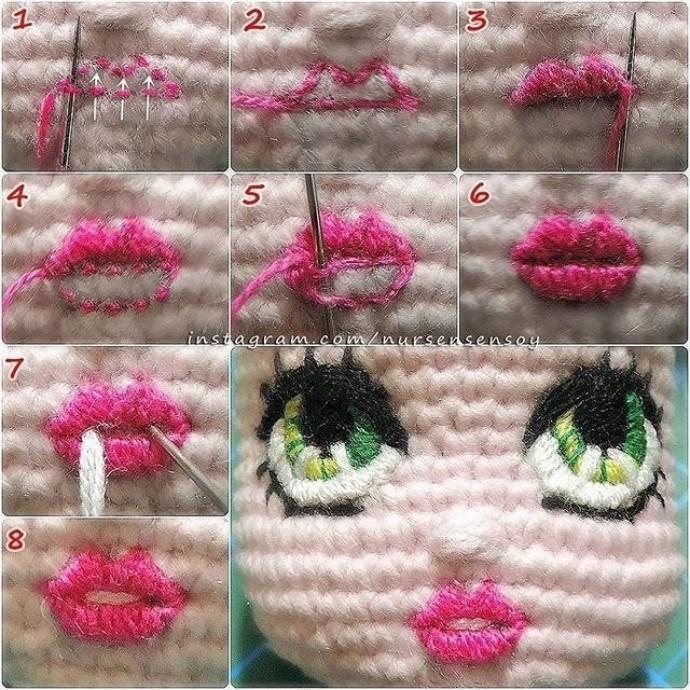 Как вышивать губы куклам