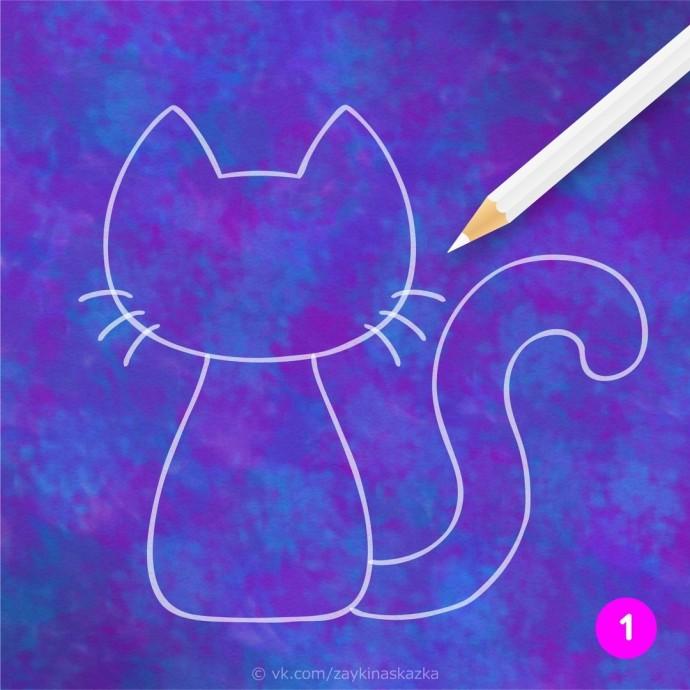 Кошка из кусочков бумаги