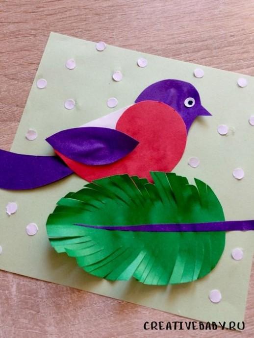 Птичка на объёмном листике