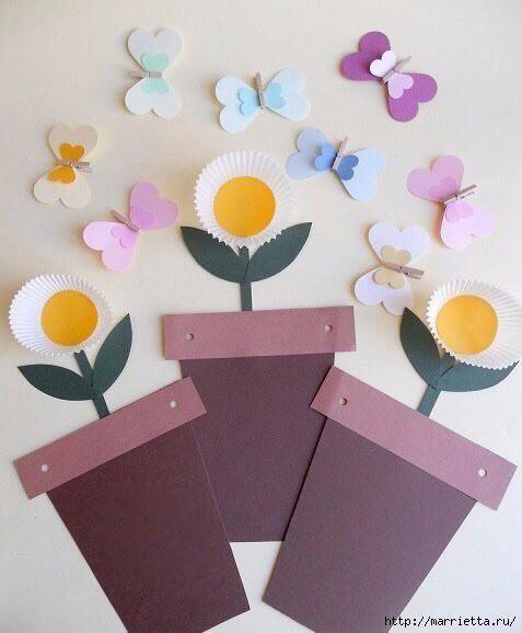 Аппликации из бумажных формочек для кексов