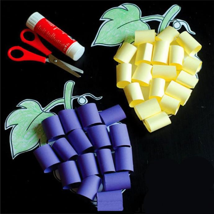 Объёмный виноград из цветной бумаги