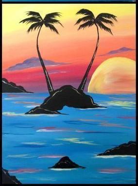 Рисуем с детьми красивое море на закате