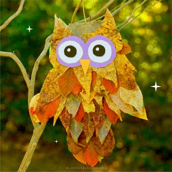 Совы из осенних листьев