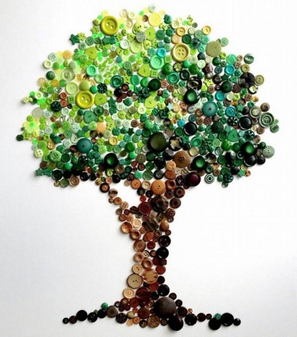 Поделки из пуговиц для детей: деревья