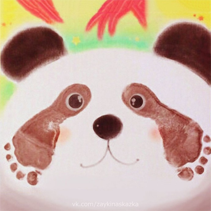 Рисуем панду ножками 0