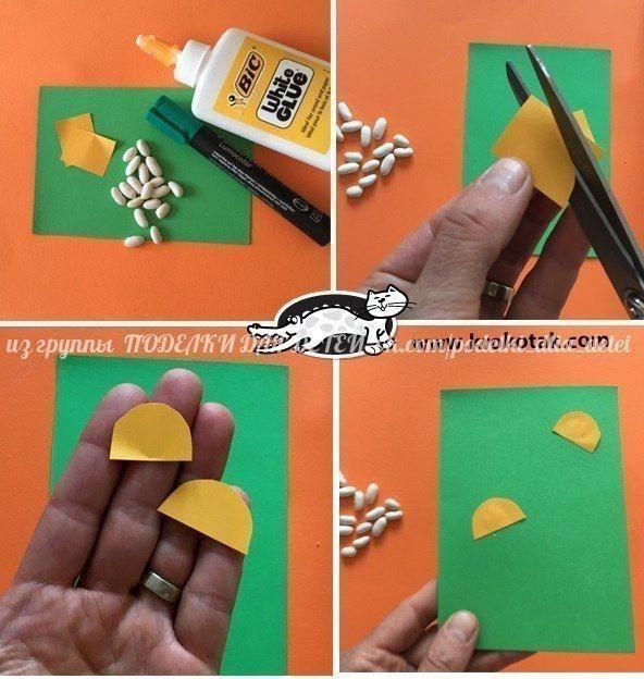 Ромашки из цветной бумаги и фасоли