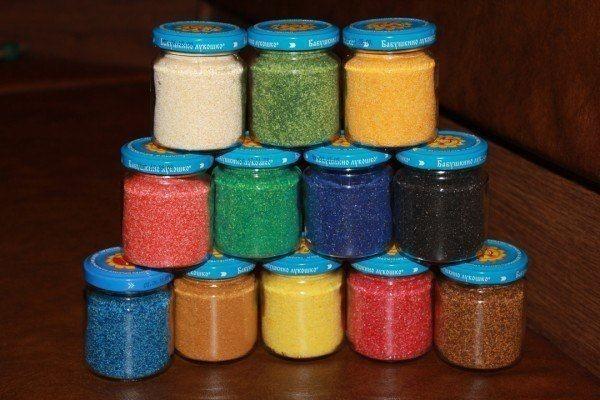 Цветной песок из манки