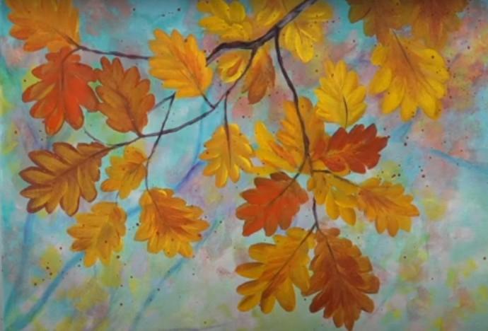 Рисуем осенние желто-коричневые листья