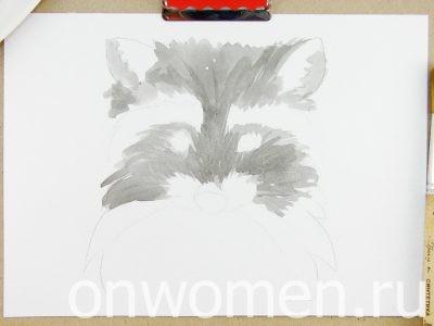 Рисуем с детками енотика акварелью