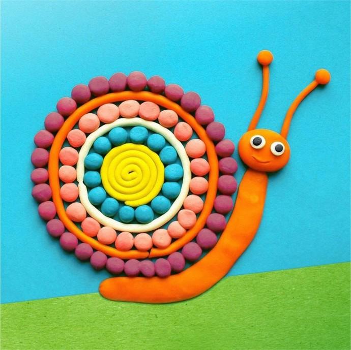 Улитки, которые нарисованы пластилином: идеи