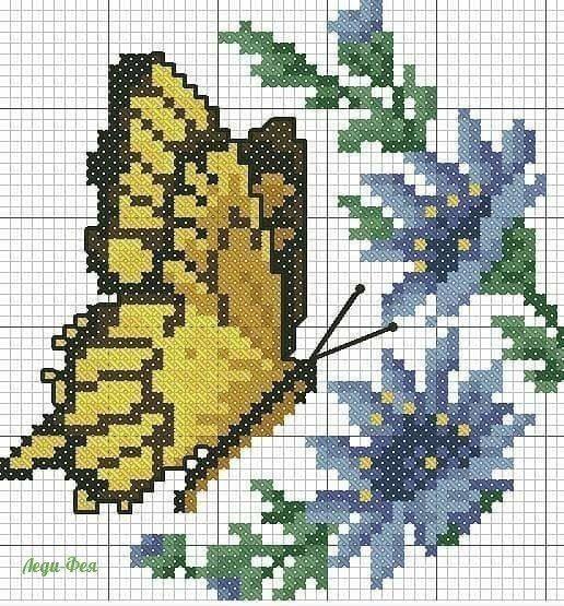 Вышивка бабочек