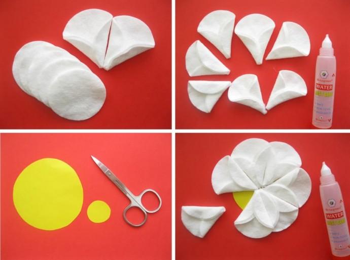 Идеи аппликаций с ватными дисками: цветочки