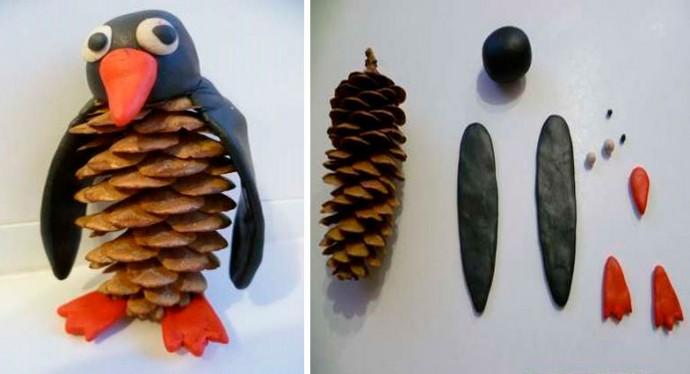 Пингвин из шишки и пластилина